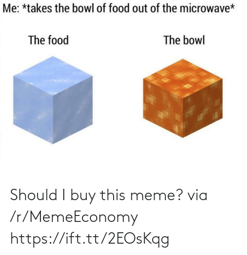 Bowl Of: Me: *takes the bowl of food out of the microwave*  The food  The bowl Should I buy this meme? via /r/MemeEconomy https://ift.tt/2EOsKqg