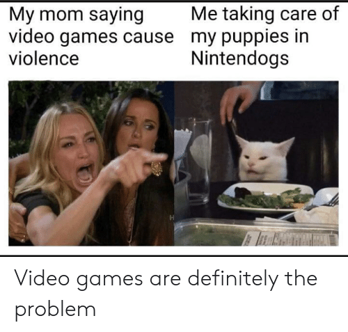 Puppies: Me taking care of  My mom saying  video games cause my puppies in  violence  Nintendogs Video games are definitely the problem