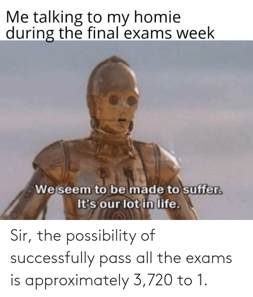 Homie, Life, and All The: Me talking to my homie  during the final exams week  We seem to be made to suffer.  It's our lot in life. Sir, the possibility of successfully pass all the exams is approximately 3,720 to 1.