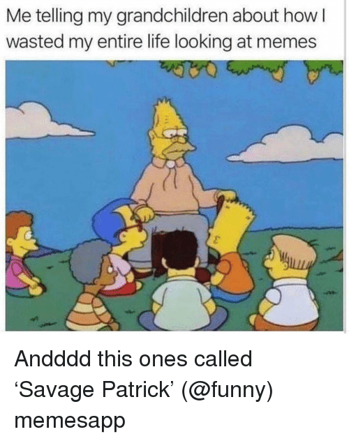 Funny, Life, and Memes: Me telling my grandchildren about how l  wasted my entire life looking at memes Andddd this ones called 'Savage Patrick' (@funny) memesapp