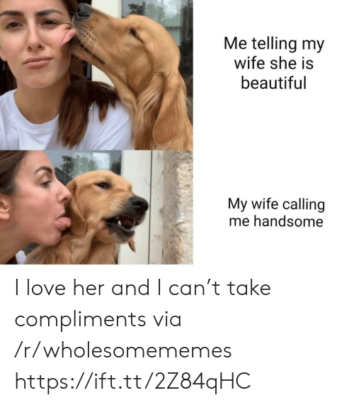 Beautiful, Love, and Wife: Me telling my  wife she is  beautiful  My wife calling  me handsome I love her and I can't take compliments via /r/wholesomememes https://ift.tt/2Z84qHC