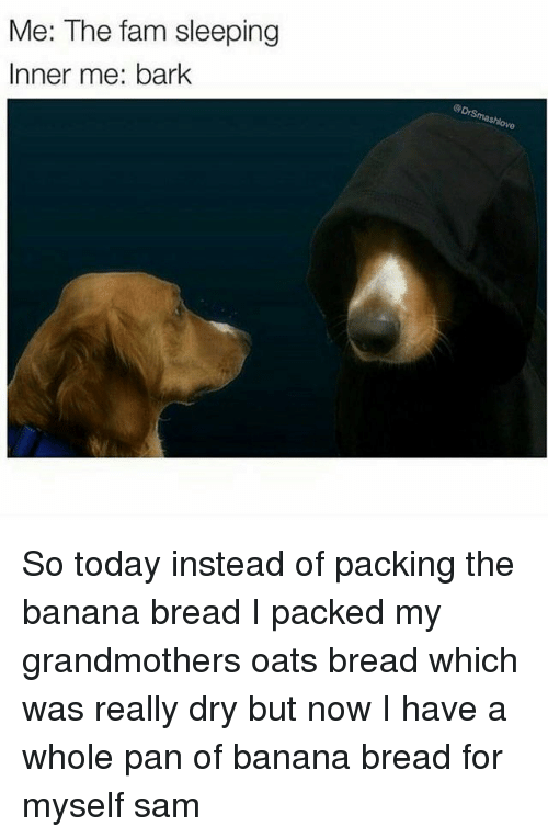 Banana Bread: Me: The fam sleeping  Inner me: bark So today instead of packing the banana bread I packed my grandmothers oats bread which was really dry but now I have a whole pan of banana bread for myself ≪sam≫