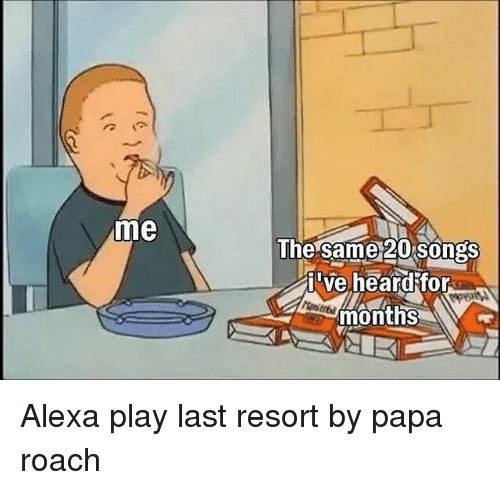 Songs, Dank Memes, and Papa Roach: me  The same 20 songs  i've heard for  months Alexa play last resort by papa roach