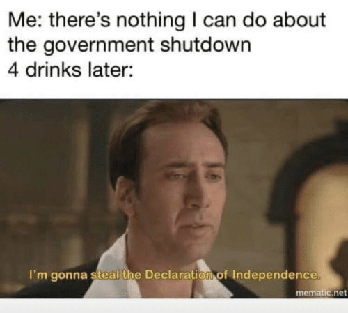 Declaration of Independence, Government, and Net: Me: there's nothing I can do about  the government shutdown  4 drinks later:  I'm gonna steal the Declaration of Independence  mematic.net