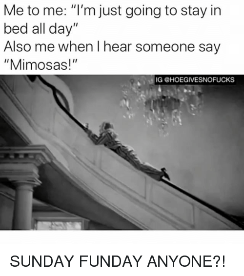 """Sunday Funday: Me to me: """"I'm just going to stay in  bed all day""""  Also me when I hear someone say  """"Mimosas!""""  IG @HOEGIVESNOFUCKS SUNDAY FUNDAY ANYONE?!"""
