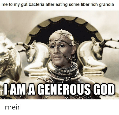 God, MeIRL, and Fiber: me to my gut bacteria after eating some fiber rich granola  IAMAGENEROUS GOD meirl