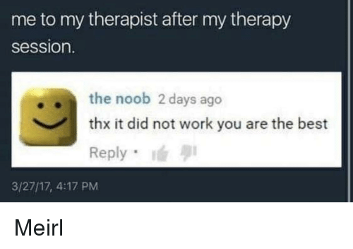 Best Reply: me to my therapist after my therapy  session.  .the noob 2 days ago  thx it did not work you are the best  Reply  3/27/17, 4:17 PM Meirl