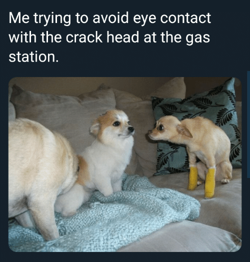 Head, Gas Station, and Eye: Me trying to avoid eye contact  with the crack head at the gas  station.