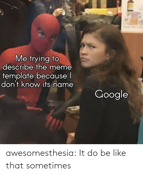Describe: Me trying to  describe the meme  template because I  don't know its name  Google awesomesthesia:  It do be like that sometimes