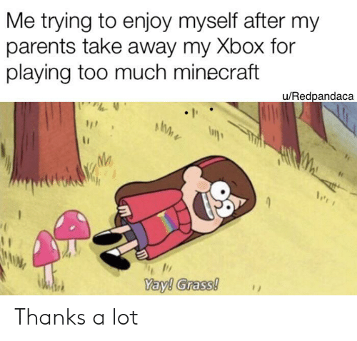 Minecraft, Parents, and Too Much: Me trying to enjoy myself after my  parents take away my Xbox for  playing too much minecraft  u/Redpandaca  Yay! Grass! Thanks a lot