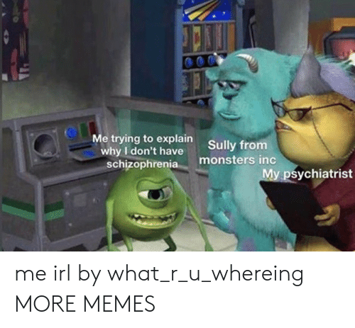 Monsters Inc: Me trying to explain  why I don't have  schizophrenia  Sully from  monsters inc  My psychiatrist me irl by what_r_u_whereing MORE MEMES