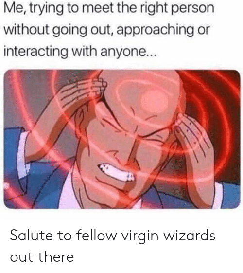 Salute: Me, trying to meet the right person  without going out, approaching or  interacting with anyone.. Salute to fellow virgin wizards out there