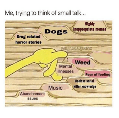 Inappropriate Memes: Me, trying to think of small talk...  Highly  Inappropriate memes  DogS  Drug related  horror stories  Weed  ее  Mental  illnesses  Fear of feeling  Useless serial  Music killer knowledge  Abandonment  issues