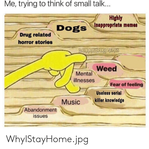 Inappropriate Memes: Me, trying to think of small talk...  Highly  Inappropriate memes  Dogs  Drug related  horror stories  DANKRECAVERY MEMES  Weed  Mental  ilnesses  Fear of feeling  Useless serial  killer knowledge  Music  Abandonment  issues WhyIStayHome.jpg
