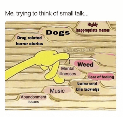 Inappropriate Memes: Me, trying to think of small talk...  Hlghly  Inappropriate memes  DogS  Drug related  horror stories  Weed  Mental  illnesses  Fear of feeling  Useless serial  killer knowledge  Music  Abandonment  issues