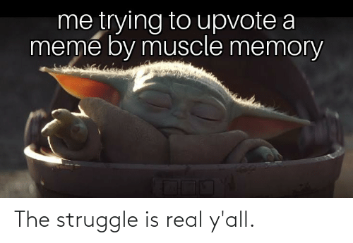 Meme, Struggle, and The Struggle Is Real: me trying to upvote a  meme by muscle memory The struggle is real y'all.