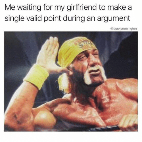 Memes, Girlfriend, and Waiting...: Me waiting for my girlfriend to make a  single valid point during an argument  @duckyremington