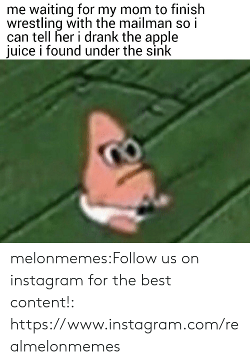 Apple, Instagram, and Juice: me waiting for my mom to finish  wrestling with the mailman so i  can tell her i drank the apple  juice i found under the sink melonmemes:Follow us on instagram for the best content!: https://www.instagram.com/realmelonmemes