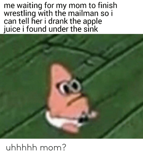 Apple, Juice, and Wrestling: me waiting for my mom to finish  wrestling with the mailman so i  can tell her i drank the apple  juice i found under the sink uhhhhh mom?