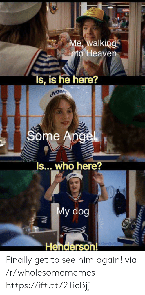 Heaven, Angel, and Dog: Me, walking  into Heaven  Ts, is he here?  AHOS  Some Angel  Is... who here?  AHOY  My dog  Henderson!  ZeroSuitMa Finally get to see him again! via /r/wholesomememes https://ift.tt/2TicBjj