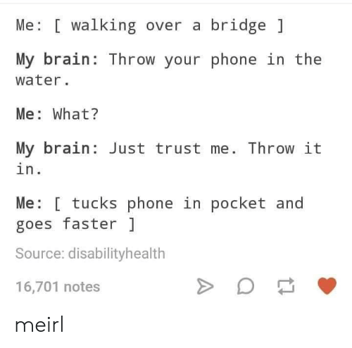 bridge: Me [ walking over a bridge  My brain: Throw your phone in the  water.  Me: What?  My brain Just trust me. Throw it  in.  Me: [ tucks phone in pocket and  goes faster  Source: disabilityhealth  16,701 notes meirl