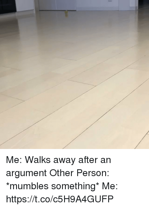 Girl Memes, Person, and Argument: Me: Walks away after an argument  Other Person: *mumbles something* Me: https://t.co/c5H9A4GUFP