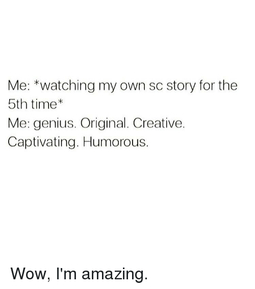 Memes, Wow, and Genius: Me: *watching my own sc story for the  5th time  Me: genius. Original. Creative.  Captivating. Humorous. Wow, I'm amazing.