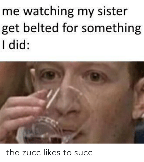 Succ, Did, and For: me watching my sister  get belted for something  I did: the zucc likes to succ