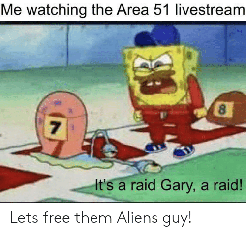 Aliens, Free, and Aliens Guy: Me watching the Area 51 livestream  8  7  It's a raid Gary, a raid! Lets free them Aliens guy!