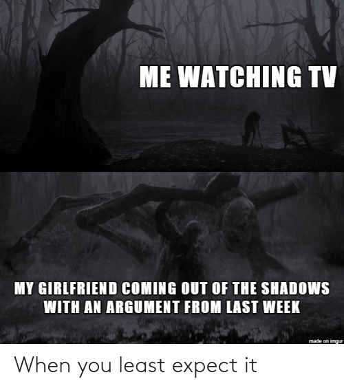 watching tv: ME WATCHING TV  MY GIRLFRIEND COMING OUT OF THE SHADOWS  WITH AN ARGUMENT FROM LAST WEEK  made on imgur When you least expect it