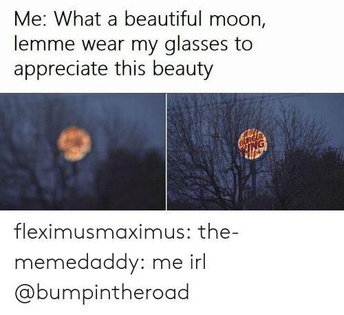 Beautiful, Tumblr, and Appreciate: Me: What a beautiful moon,  lemme wear my glasses to  appreciate this beauty fleximusmaximus: the-memedaddy:  me irl  @bumpintheroad