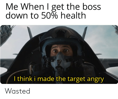 Target, Dank Memes, and Angry: Me When I get the boss  down to 50% health  T think i made the target angry Wasted