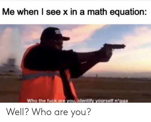 Me When: Me when I see x in a math equation:  Who the fuck are you, identify yourself n*gga Well? Who are you?