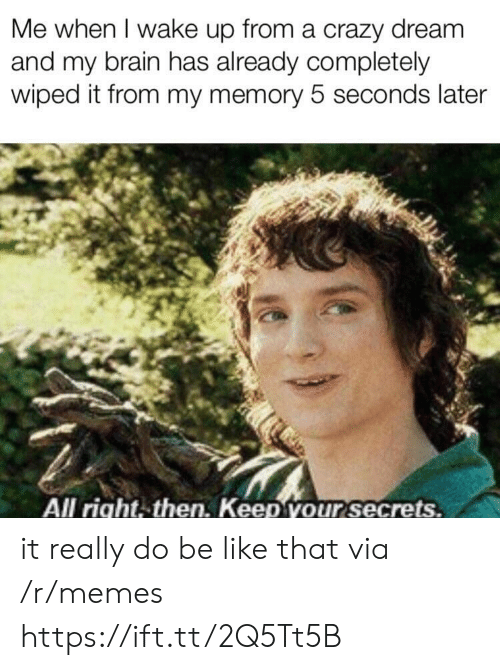 wiped: Me when I wake up from a crazy dreanm  and my brain has already completely  wiped it from my memory 5 seconds later  All right.then. Keep vour secrets. it really do be like that via /r/memes https://ift.tt/2Q5Tt5B