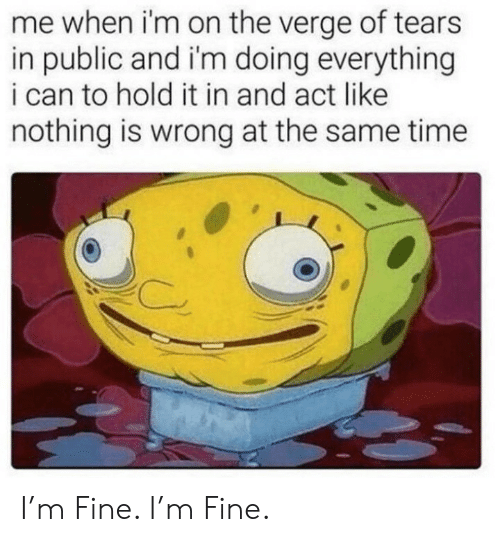 Time, On the Verge, and Act: me when i'm on the verge of tears  in public and i'm doing everything  i can to hold it in and act like  nothing is wrong at the same time I'm Fine. I'm Fine.