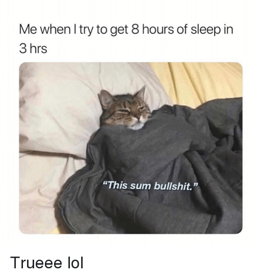 """Funny, Lol, and Bullshit: Me when l try to get 8 hours of sleep in  3 hrs  """"This sum bullshit."""" Trueee lol"""