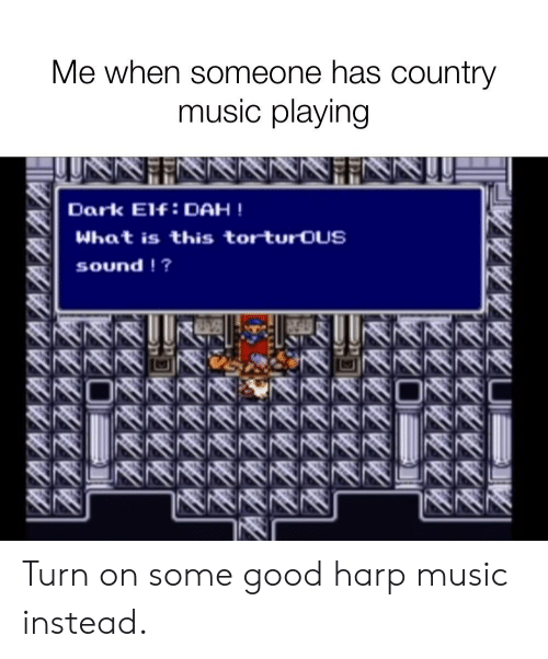 Elf, Music, and Reddit: Me when someone has country  music playing  Dark Elf:DAH !  What is this torturoUS  sound !? Turn on some good harp music instead.