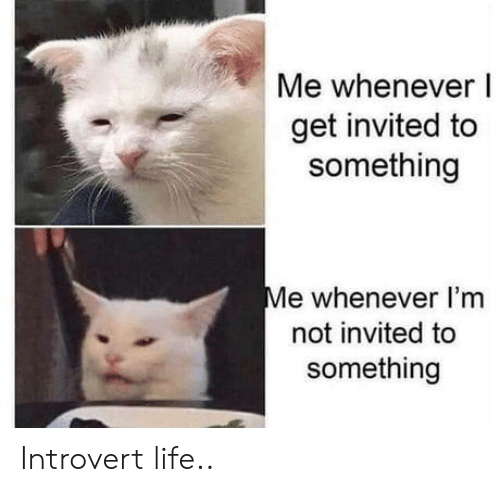 Introvert, Life, and Get: Me whenever I  get invited to  something  Me whenever I'm  not invited to  something Introvert life..