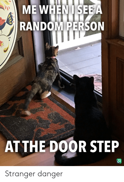 At the door: ME WHENISEE A  RANDOM PERSON  AT THE DOOR STEP Stranger danger