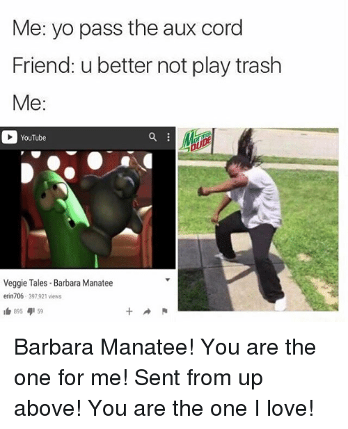 Pass The Aux: Me: yo pass the aux cord  Friend: u better not play trash  Me  YouTube  Veggie Tales Barbara Manatee  erin 706  397,921 views  R  I 895  4159 Barbara Manatee! You are the one for me! Sent from up above! You are the one I love!