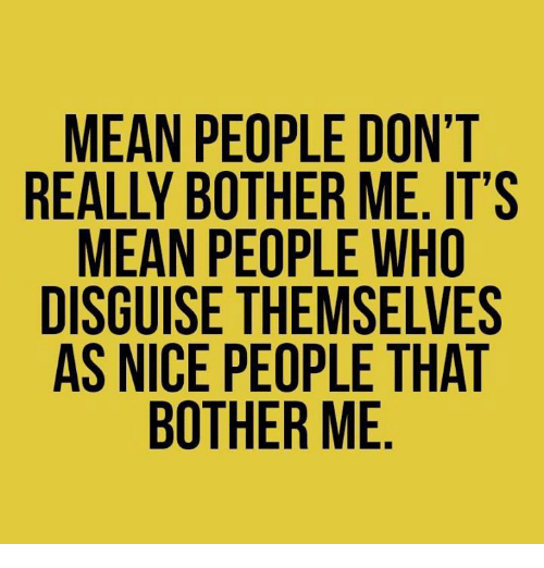 Bothere: MEAN PEOPLE DON'T  REALLY BOTHER ME. IT'S  MEAN PEOPLE WHO  DISGUISE THEMSELVES  AS NICE PEOPLE THAT  BOTHER ME