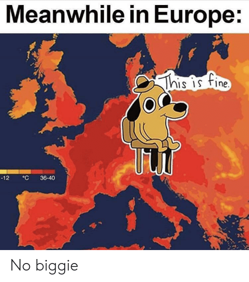 Europe, Biggie, and Fine: Meanwhile in Europe:  This is fine  °C  36-40  -12 No biggie