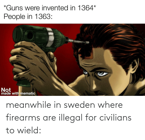 Civilians: meanwhile in sweden where firearms are illegal for civilians to wield: