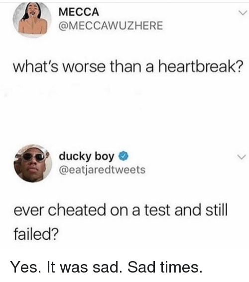 Yes It Was: MECCA  @MECCAWUZHERE  what's worse than a heartbreak?  9ducky boy  @eatjaredtweets  ever cheated on a test and still  failed? Yes. It was sad. Sad times.
