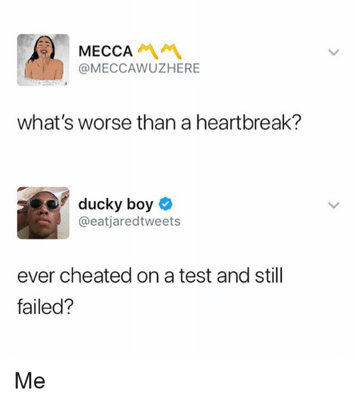 Memes, Test, and Boy: MECCA  @MECCAWUZHERE  what's worse than a heartbreak?  ducky boy  @eatjaredtweets  ever cheated on a test and still  failed? Me