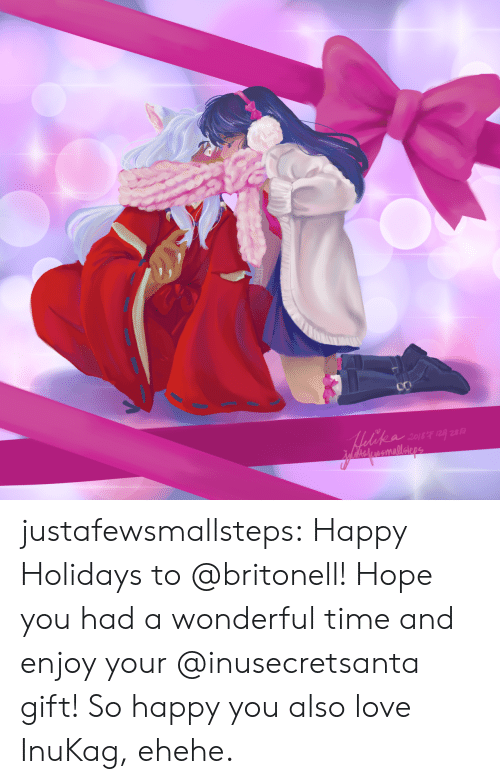 Love, Target, and Tumblr: Medekea sour g  MAeckeramnallaipge justafewsmallsteps:  Happy Holidays to @britonell! Hope you had a wonderful time and enjoy your @inusecretsanta gift! So happy you also love InuKag, ehehe.