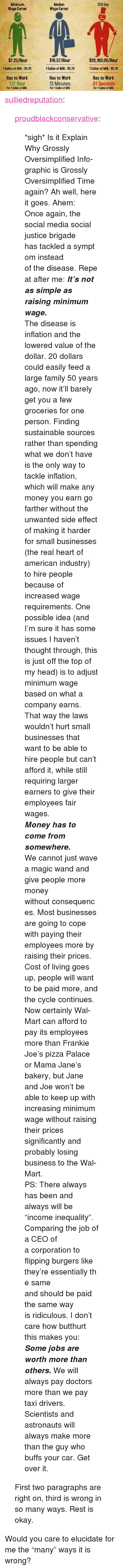 """Butthurt, Family, and Head: Median  Wage Earner  CEO Guy  Minimum  Wage Earner  $7.25/Hour  1 Gallon of Milk:$3.70  Has to Work  1/2 Hour  $16.57/Hour  1 Gallon of Milk: $3.70  Has to Work  $20,160.00/Hour  1 Gallon of Milk: $3.70  Has to Work  01 Seconds  13 Minutes  For 1 Callon of Milk  For 1 Gallon of Milk  For 1 Callon of Milk <p><a class=""""tumblr_blog"""" href=""""http://sulliedreputation.tumblr.com/post/97258362068/proudblackconservative-sigh-is-it-explain-why"""">sulliedreputation</a>:</p> <blockquote> <p><a class=""""tumblr_blog"""" href=""""http://proudblackconservative.tumblr.com/post/97191615294/sigh-is-it-explain-why-grossly-oversimplified"""">proudblackconservative</a>:</p> <blockquote> <p>*sigh* Is it Explain Why Grossly Oversimplified Info-graphic is Grossly Oversimplified Time again? Ah well, here it goes. Ahem:</p> <p><span><span>Onceagain, the social media social justice brigade hastackledasymptominstead ofthedisease.Repeat after me: <em><strong>It's not assimple as raising minimum wage. </strong></em></span></span></p> <p><span><span>The disease is inflation and the lowered value of the dollar. 20 dollars could easily feed a large family 50 years ago, now it'll barely get you a few groceries for one person. Finding sustainable sources rather than spending what we don't have is the only way to tackle inflation, which will make any money you earn go farther without the unwanted side effect of making it harder for small businesses (the real heart of american industry) to hire people because of increased wage requirements. One possible idea (and I'm sure it has some issues I haven't thought through, this is just off the top of my head) is to adjust minimum wage based on what a company earns. That way the laws wouldn't hurt small businesses that want to be able to hire people but can't afford it, while still requiring larger earners to give their employees fair wages.</span></span></p> <p><em><strong><span><span>Money has to come from somewhere.</span></span></strong></em>"""