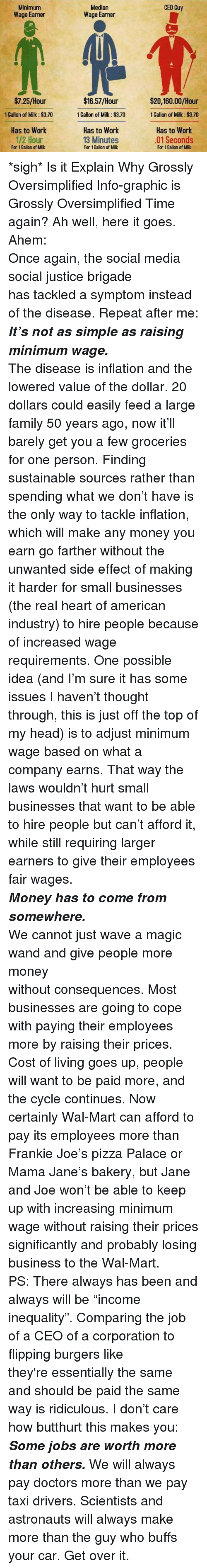 Butthurt, Family, and Head: Median  Wage Earner  CEO Guy  Minimum  Wage Earner  $7.25/Hour  1 Gallon of Milk:$3.70  Has to Work  1/2 Hour  $16.57/Hour  1 Gallon of Milk: $3.70  Has to Work  $20,160.00/Hour  1 Gallon of Milk: $3.70  Has to Work  01 Seconds  13 Minutes  For 1 Callon of Milk  For 1 Gallon of Milk  For 1 Callon of Milk <p>*sigh* Is it Explain Why Grossly Oversimplified Info-graphic is Grossly Oversimplified Time again? Ah well, here it goes. Ahem:</p> <p><span><span>Onceagain, the social media social justice brigade hastackledasymptominstead ofthedisease.Repeat after me: <em><strong>It&rsquo;s not assimple as raising minimum wage. </strong></em></span></span></p> <p><span><span>The disease is inflation and the lowered value of the dollar. 20 dollars could easily feed a large family 50 years ago, now it&rsquo;ll barely get you a few groceries for one person. Finding sustainable sources rather than spending what we don&rsquo;t have is the only way to tackle inflation, which will make any money you earn go farther without the unwanted side effect of making it harder for small businesses (the real heart of american industry) to hire people because of increased wage requirements. One possible idea (and I&rsquo;m sure it has some issues I haven&rsquo;t thought through, this is just off the top of my head) is to adjust minimum wage based on what a company earns. That way the laws wouldn&rsquo;t hurt small businesses that want to be able to hire people but can&rsquo;t afford it, while still requiring larger earners to give their employees fair wages.</span></span></p> <p><em><strong><span><span>Money has to come from somewhere.</span></span></strong></em></p> <p><span><span>We cannot just wave a magic wand and give people more money withoutconsequences.</span></span><span>Most businesses are going to cope with paying their employees more by raising their prices. Cost of living goes up, people will want to be paid more, and the cycle continues. Now certainly Wal