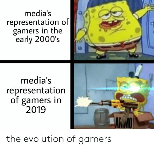 Evolution, 2000s, and Representation: media's  representation of|  gamers in the  early 2000's  media's  representation  of gamers in  2019  ARMO the evolution of gamers