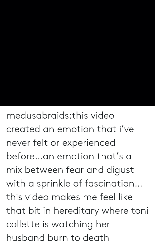 Target, Tumblr, and Blog: medusabraids:this video created an emotion that i've never felt or experienced before…an emotion that's a mix between fear and digust with a sprinkle of fascination…this video makes me feel like that bit in hereditary where toni collette is watching her husband burn to death
